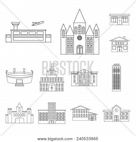 Building Repair Outline Icons In Set Collection For Design.building Material And Tools Vector Symbol