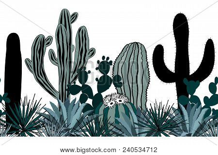Hand Drawn Seamless Pattern With Sketch Saguaro, Blue Agave, And Prickly Pear. Latin American Backgr