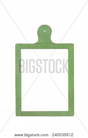 Bulletin Board In The Form Of A Kitchen Board Green On An Isolated White Background.copy Space