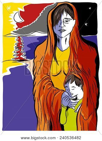 Refugees Problem.  Mother And Child Refugees Foreigners Immigrants Near The Sea.