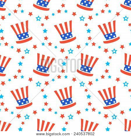 Independence Day Of America Festive Seamless Pattern Background. Patriotic American Holiday Fourth O