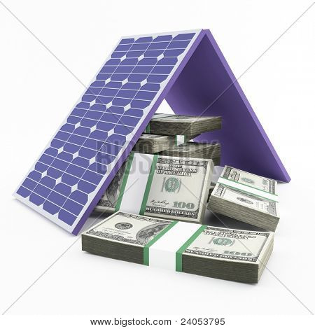 solar panel and money