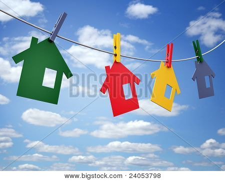 clothespins and houses on the line