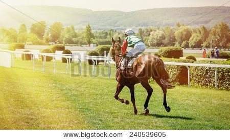 Racing Horse Coming First To Finish Line. Racehorse With Jockeys During A Horse Race. Jockeys Runs I