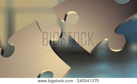 Two Jigsaw Pieces Connecting Together, Office Interior On Background, Concept Of Solution Or Team Wo