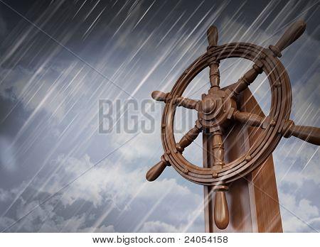 ships wheel, storm