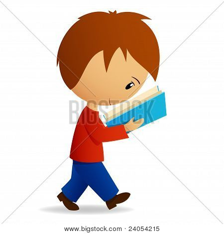 Young Cartoon Male Student Walking And Reading