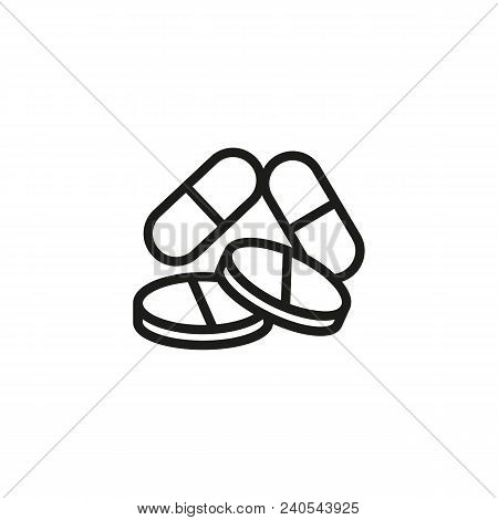 Pills Heap. Flat Thin Line Illustration. Drug, Medication, Remedy. Flu Concept. For Health, Pharmacy