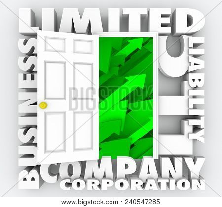 LLC Limited Liability Corporation Company Words 3d Render Illustration poster