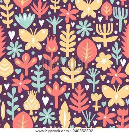 Seamless Abstract Floral Background. Botanical Vector Pattern. Paper Floral Elements. Scandinavian S