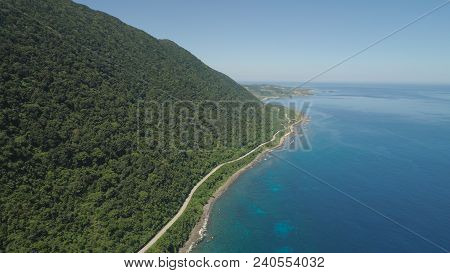 Aerial View Of Patapat Viaduct In The Coast Of Pagudpud, Ilocos Norte. Highway With Bridge By Coast