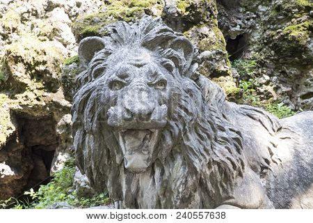 Roaring Stone Lion, Close Up Of Head, Horizontal Image