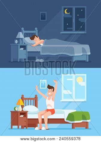 Man Sleeping Under Warm Duvet At Night, Waking Up Morning And Getting Out Of Comfortable Soft Bed. P