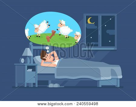Sleepless Man In Bed Trying To Fall Asleep Counting Jumping Sheeps. Count Sheep For Insomnia Cartoon