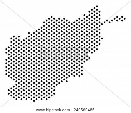 Dot Afghanistan Map. Vector Territorial Plan. Cartographic Composition Of Afghanistan Map Constructe