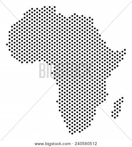 Dotted Africa Map. Vector Territory Plan. Cartographic Concept Of Africa Map Formed Of Circle Points