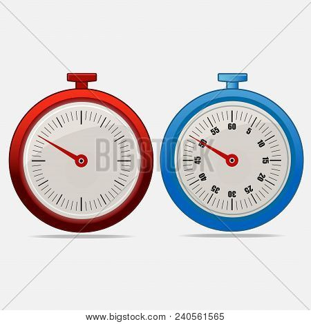Red And Blue Realistic Timers 50 Seconds On Gray Background . Stopwatch Icon Set. Timer Icon. Time C