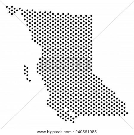 Pixel British Columbia Province Map. Vector Territory Plan. Cartographic Pattern Of British Columbia