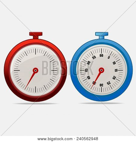 Red And Blue Realistic Timers 35 Seconds On Gray Background . Stopwatch Icon Set. Timer Icon. Time C