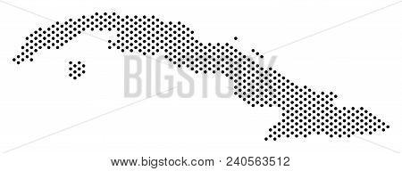 Pixel Cuba Map. Vector Territory Plan. Cartographic Concept Of Cuba Map Organized Of Small Spheres.