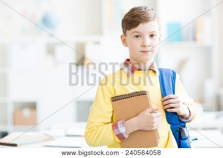Cute casual schoolboy with backpack and notepad looking at camera in classroom