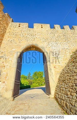 Sun Door In Tomar Fortress, Portugal, Unesco Heritage. Tomar Convent-fortress Was Part Of A Defensiv