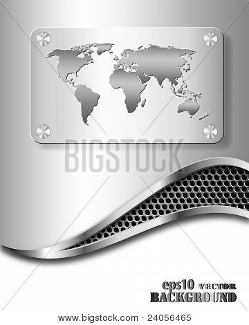 Abstract Metallic Business Background With World Map