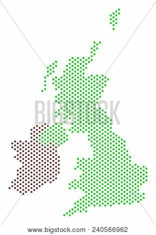 Pixel Great Britain And Ireland Map. Vector Geographic Plan. Cartographic Concept Of Great Britain A
