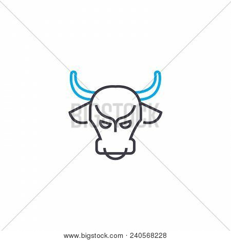 Bull Market Vector Thin Line Stroke Icon. Bull Market Outline Illustration, Linear Sign, Symbol Isol