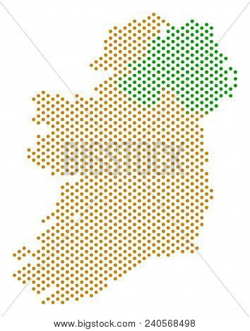 Pixel Ireland Countries Map. Vector Territory Scheme. Cartographic Pattern Of Ireland Countries Map