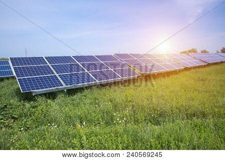 Solar Panel, Photovoltaic, Alternative Electricity Source - Selective Focus, Copy Space.