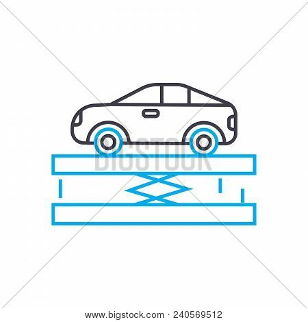 Car Lift Vector Thin Line Stroke Icon. Car Lift Outline Illustration, Linear Sign, Symbol Isolated C