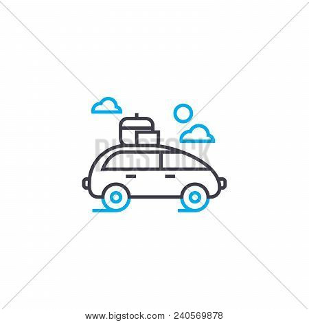 Car With Roof Rack Vector Thin Line Stroke Icon. Car With Roof Rack Outline Illustration, Linear Sig
