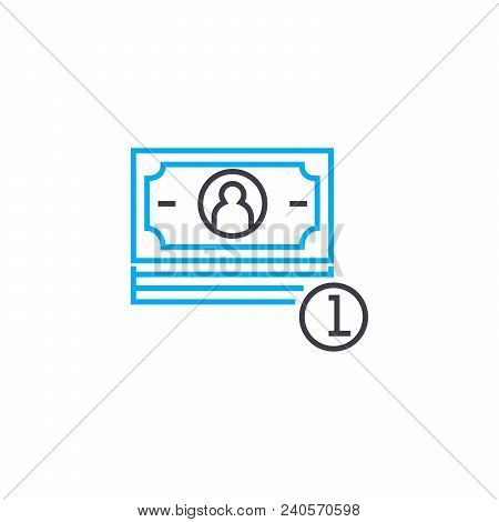 Cash Revenue Vector Thin Line Stroke Icon. Cash Revenue Outline Illustration, Linear Sign, Symbol Is