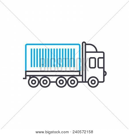 Container Carriage Vector Thin Line Stroke Icon. Container Carriage Outline Illustration, Linear Sig