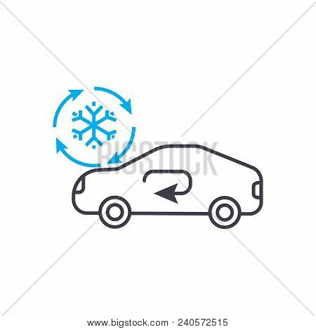 Cooling Car System Vector Thin Line Stroke Icon. Cooling Car System Outline Illustration, Linear Sig