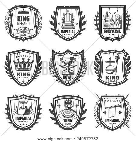Vintage Royal Coat Of Arms Set With King Sword Palace Crown Monarchy Orb Scepter Trumpet Throne Rega