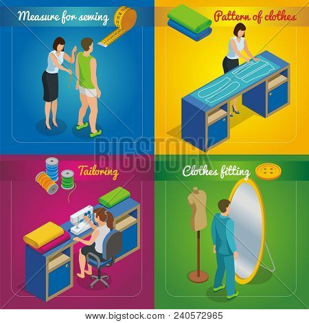 Isometric Tailor Shop Concept With Woman Taking Measurements From Client Pattern Of Clothes Sewing P