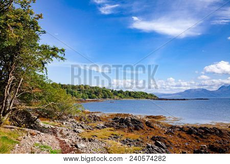 Sleat peninsula coast of the Isle of Skye  overlooking the Sound of Sleat, a narrow sea channel off the western coast of Scotland, UK