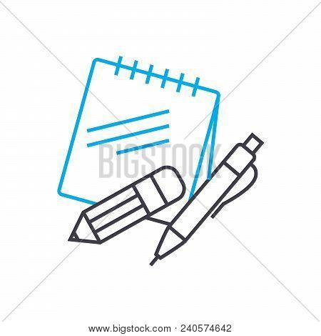 Educational Supplies Vector Thin Line Stroke Icon. Educational Supplies Outline Illustration, Linear