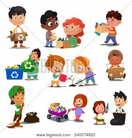 A Vector Illustration Of Children Recycling Trash