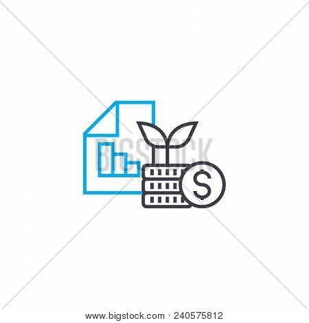 Financial Results At Startup Vector Thin Line Stroke Icon. Financial Results At Startup Outline Illu