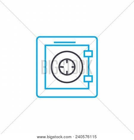 Fireproof Safe Vector Thin Line Stroke Icon. Fireproof Safe Outline Illustration, Linear Sign, Symbo