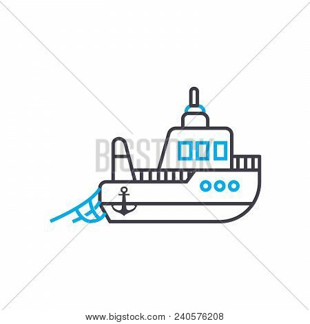 Fishing Vessel Vector Thin Line Stroke Icon. Fishing Vessel Outline Illustration, Linear Sign, Symbo