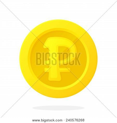 Vector Illustration In Flat Style. Gold Coin Of Russian Ruble. Cash Money. Symbol Of Business, Econo