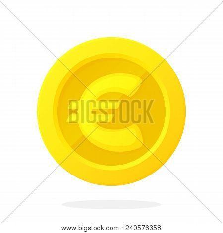 Vector Illustration In Flat Style. Gold Coin Of European Union Euro. Cash Money. Symbol Of Business,