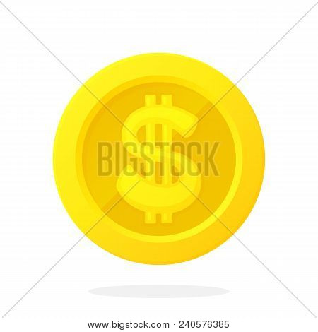Vector Illustration In Flat Style. Gold Coin Of American Dollar. Cash Money. Symbol Of Business, Eco