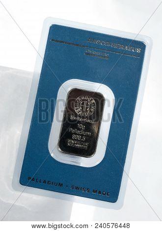 Kyiv, Ukraine - May 11, 2017: Minted Bar Of Palladium Weighing 10 Grams Sealed In Tamper-proof Packa