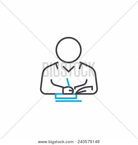 Individual Research Vector Thin Line Stroke Icon. Individual Research Outline Illustration, Linear S