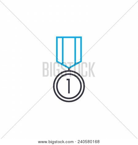 Leadership Medal Vector Thin Line Stroke Icon. Leadership Medal Outline Illustration, Linear Sign, S